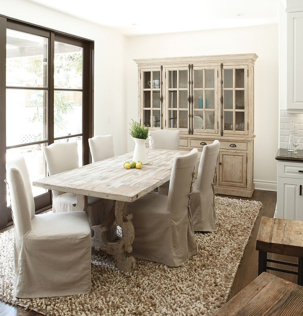 dining room with a stylish hutch and dining table in wood decoist