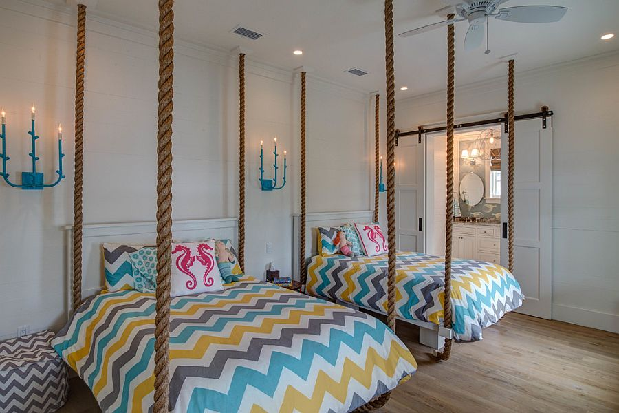 Get in on the latest trends with cool chevron bedding [Design: 30A Interiors]