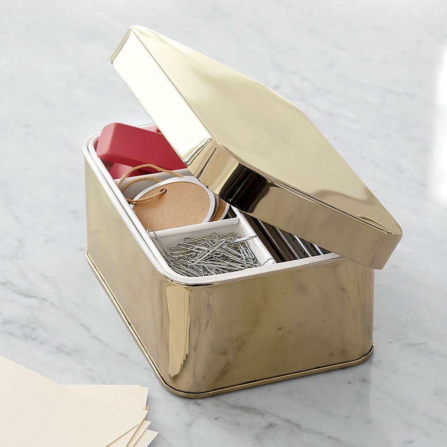Gold desk organizer from CB2