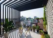 Gorgeous balcony of Saigon home with a dash of greeney and lovely views