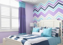 Gorgeous girls' bedroom in violet, aqua and gray