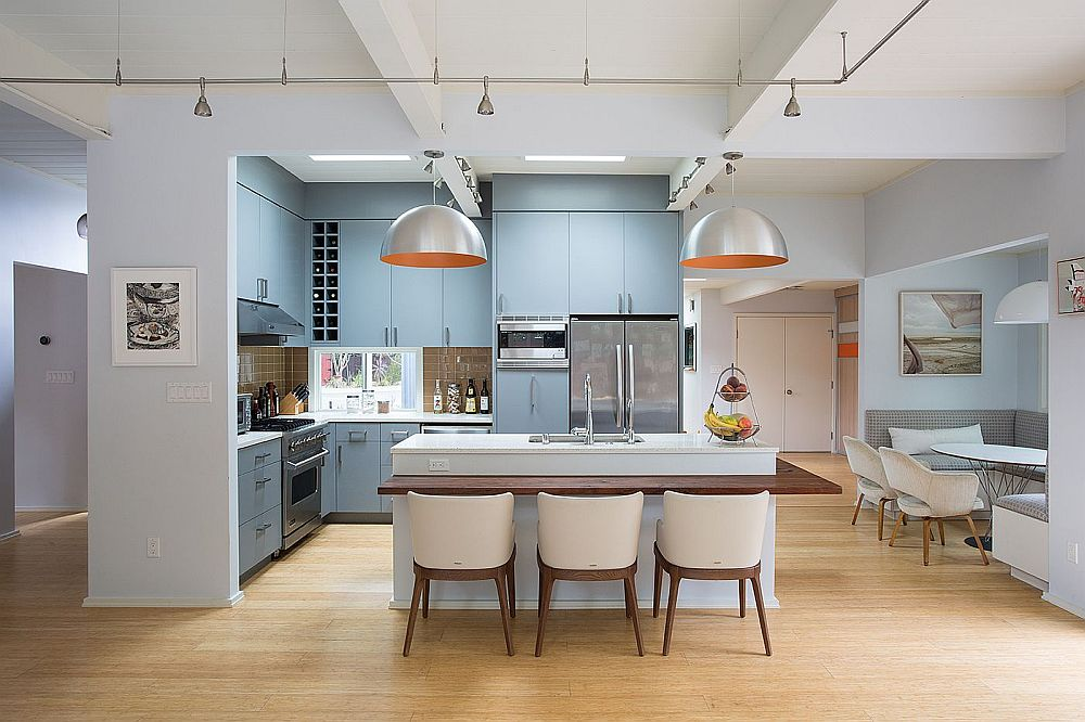Gorgeous kitchen with an  eat-in island and banquette