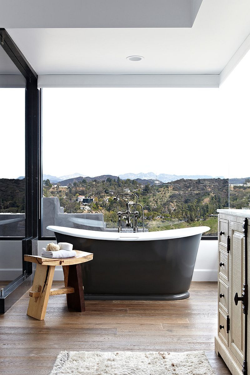 Gorgeous, open bathroom for those who are happy with a view of Hollywood Hills [Design: Janette Mallory Interior Design]
