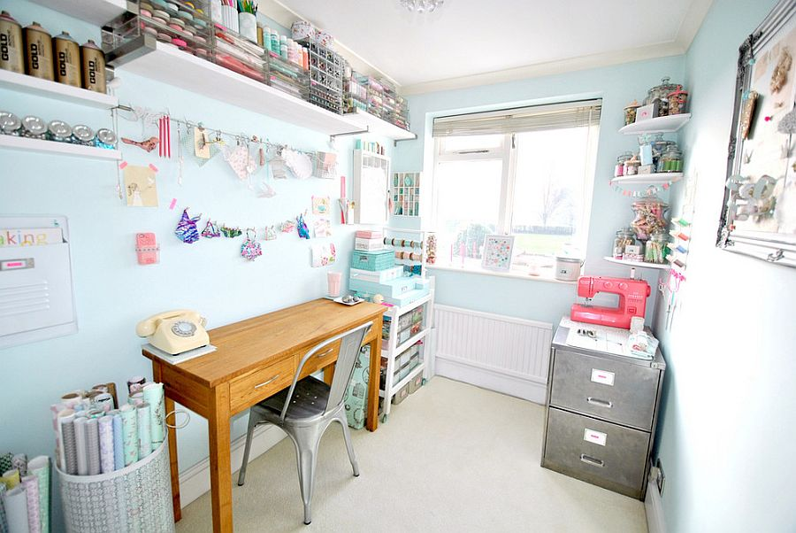 Gorgeous shabby chic crafts room is all about smart organization [Design: Torie Jayne]