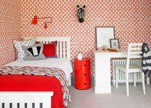 Gorgeous wallpaper with classic Vivienne Westwood print steals the show in this cool bedroom