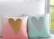 Heart pillows from Pottery Barn Kids 217x155 The Latest in Kids Bedroom Trends
