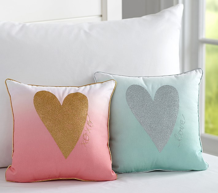 Heart pillows from Pottery Barn Kids
