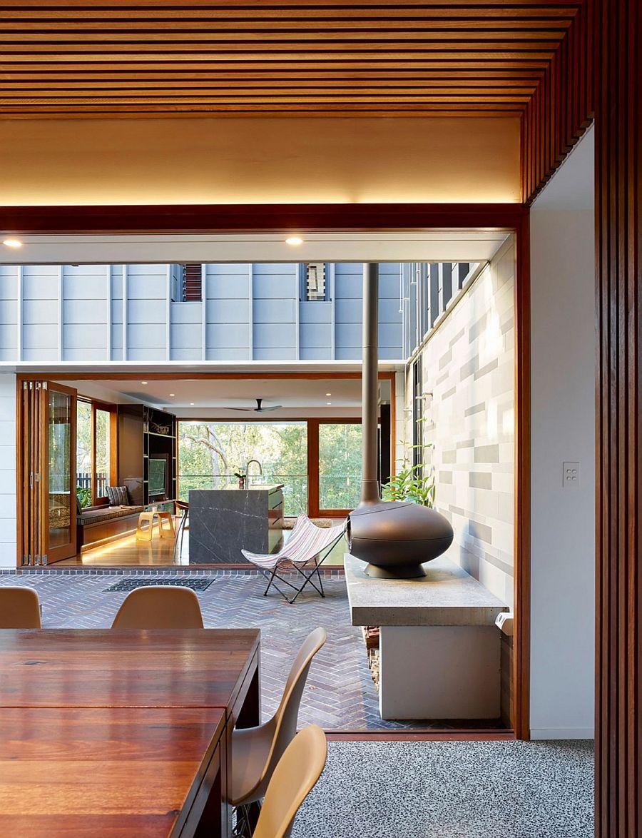 Herringbone pattern tiles shape the stylish courtyard