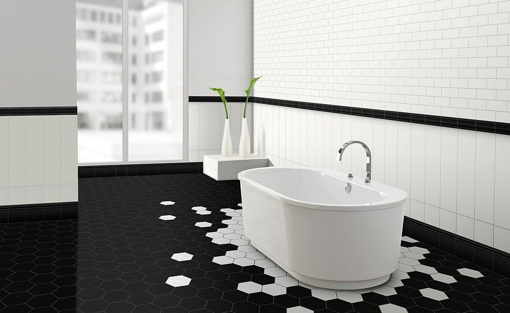 Hexagonal tiles steal the show in this stunning, minimal bathroom [Design: Metro Tiles Geebung]