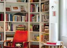 IKEA corner shelving in an eclectic living area