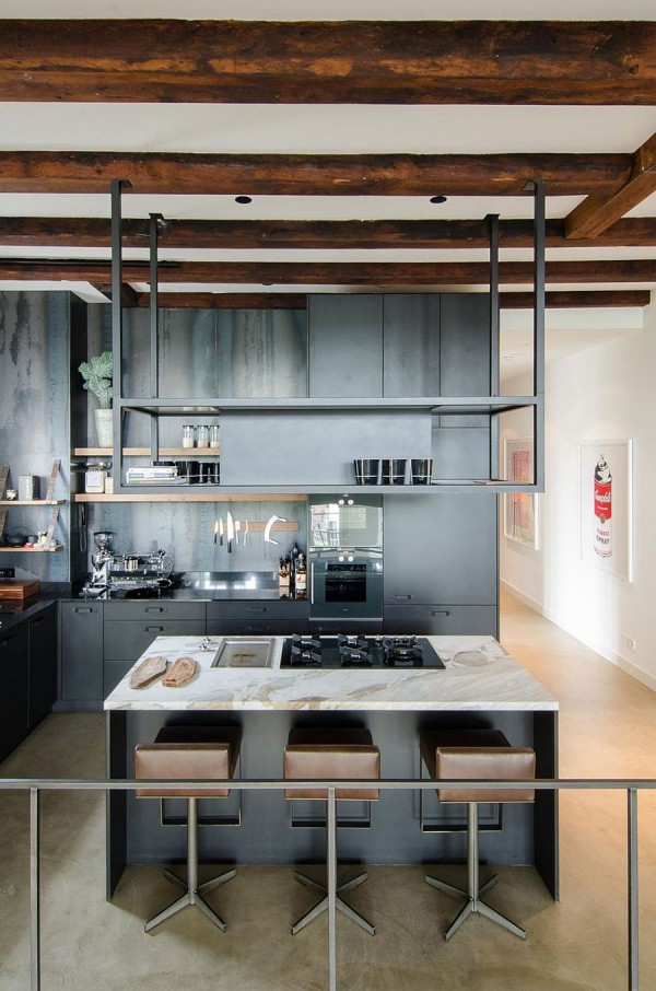 Industrial modern kitchen with exposed wooden beams and Industrial modern kitchen ideas