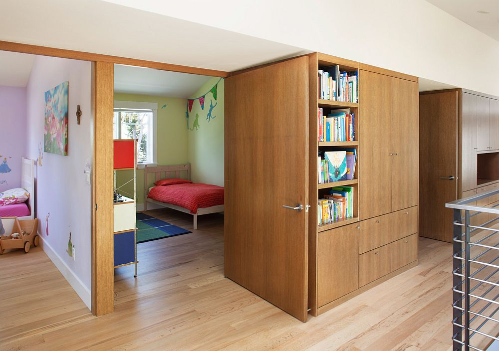 Kids' rooms with indivdual play lofts and storage gallery