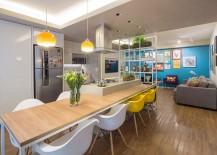 Kitchen island dining inside the small Brasilia apartment