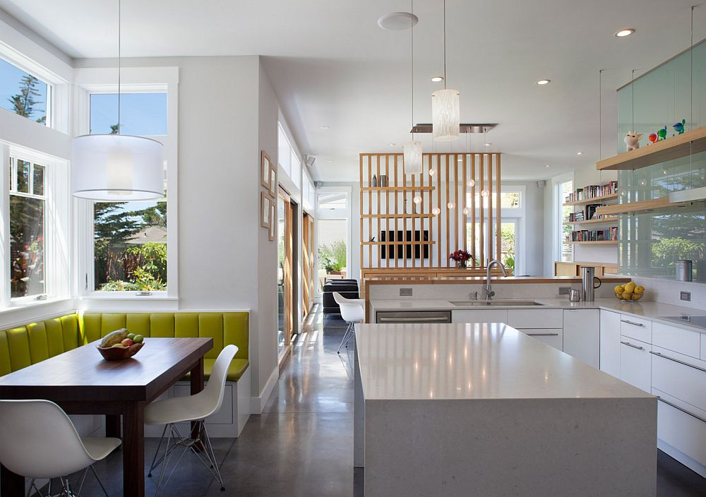 Kitchen with a cool banquet in the corner