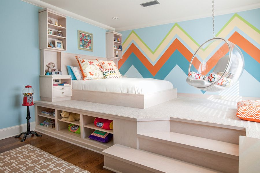 Large chevron patterned wall offers both color and contrast [Design: Weaver Architects]