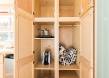 Large storage closet that doubles as pantry when needed