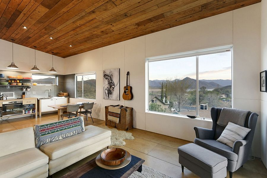 Large windows bring in the view of rugged Wofford Heights landscape