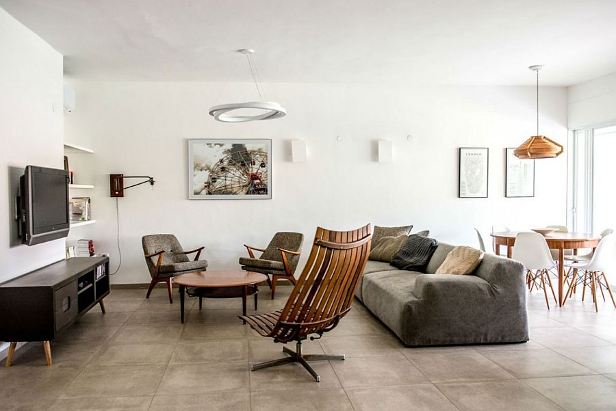Light-filled, white living room of the apartment in Ramat Yohanan