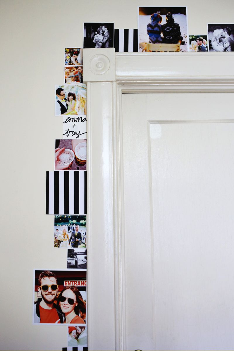 Line a door frame with photos