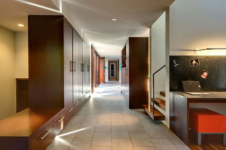 Long hallway used to create ample storage options