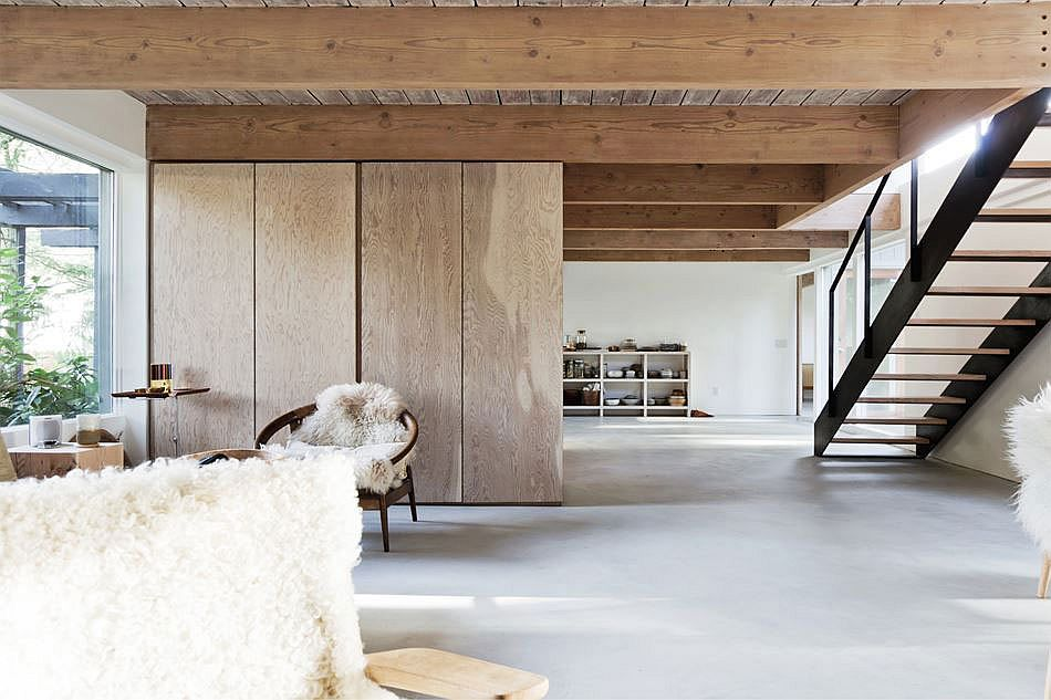 Lye washed douglas fir beams add to the rustic charm of the interior