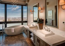 Majestic views of Deer Valley, Utah from the contemporary bathroom