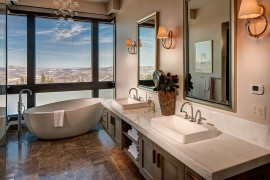Majestic views of Deer Valley Utah from the contemporary bathroom 270x180 Framed to Perfection: 15 Bathrooms with Majestic Mountain Views