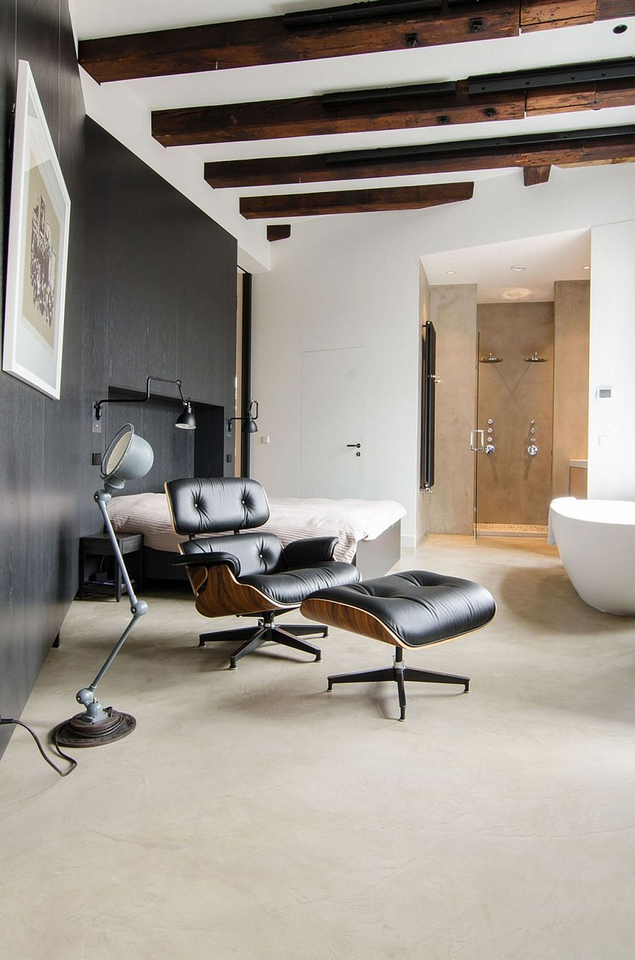 Master bedroom and bath with floor lamp and Eames Lounger