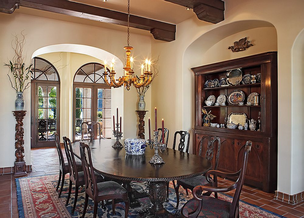 ... Mediterranean Dining Room Has A Custom Nook For The Hutch [Design:  Cornerstone Architects]