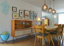 Midcentury hutches placed next to one another to double up the dining room storage space