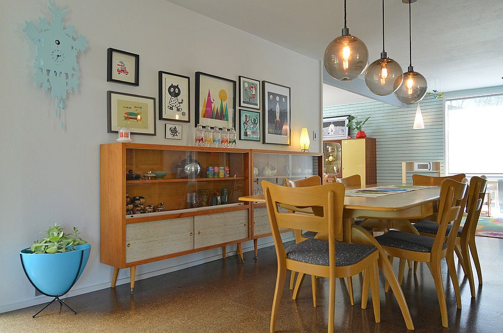 Midcentury hutches placed next to one another to double up the dining room storage space [From: Sarah Greenman]