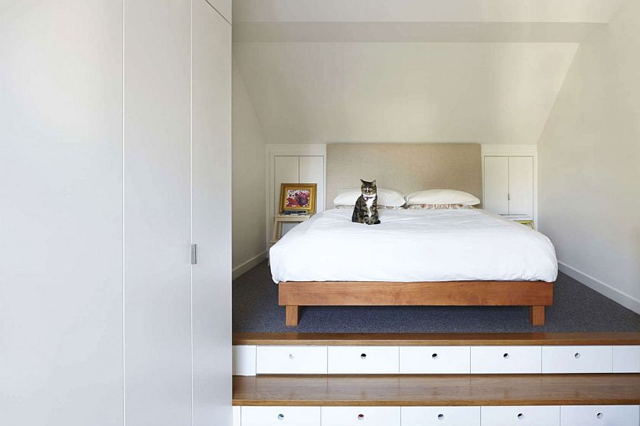 Minimal and modern, space-saving bedroom design