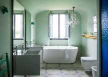 Mint bathroom with modern elements