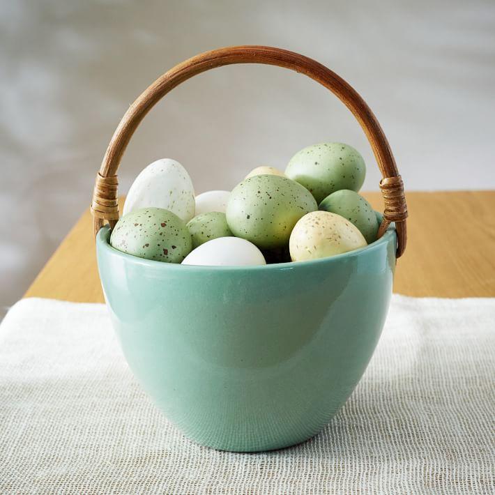 Mint earthenware basket from West Elm