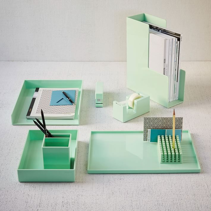 Mint office accessories from West Elm