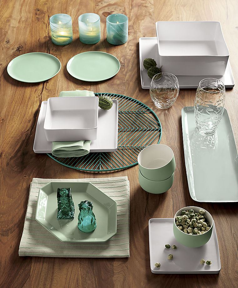 View in gallery Minty table setting from CB2 & Pastels Metallics and Other Spring Tableware Trends