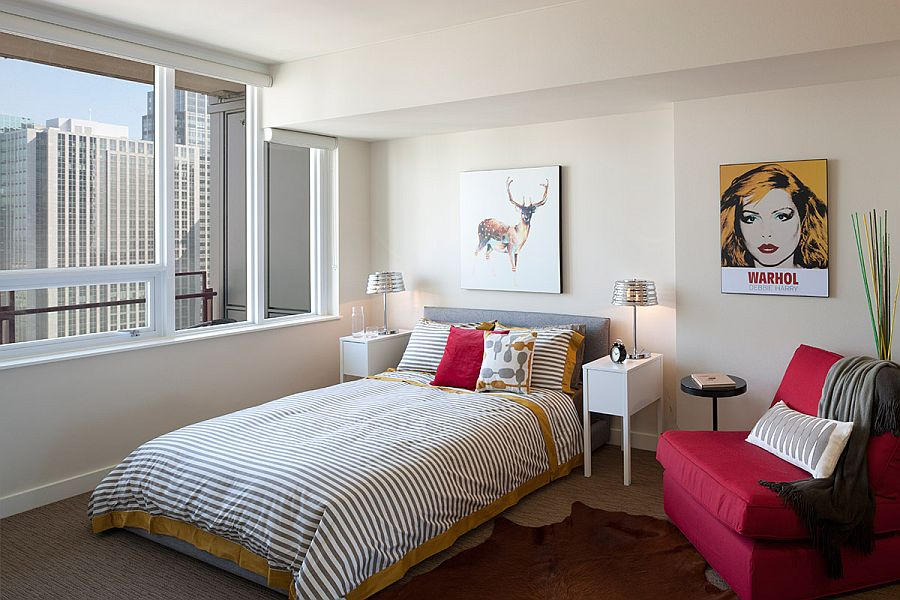 Modern and midcentury elements come together inside the stylish bedroom