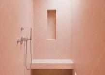 Modern pink bathroom shower