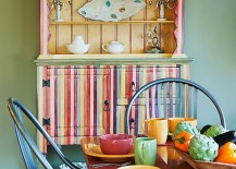 Multi colored dining room hutch becomes a vivacious focal point in the dining room 217x155 Organizational Delight: 30 Smart Dining Room Hutches and China Cabinets