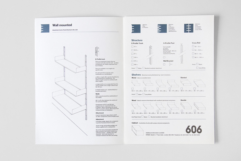 Neville Brody Vitsœ 606 booklet details