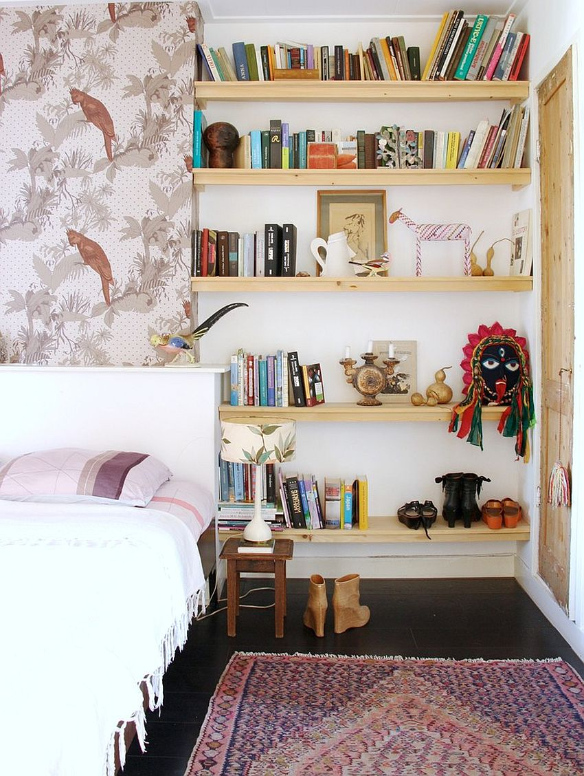 Open bookshelf doubles as a lovely display in the bedroom