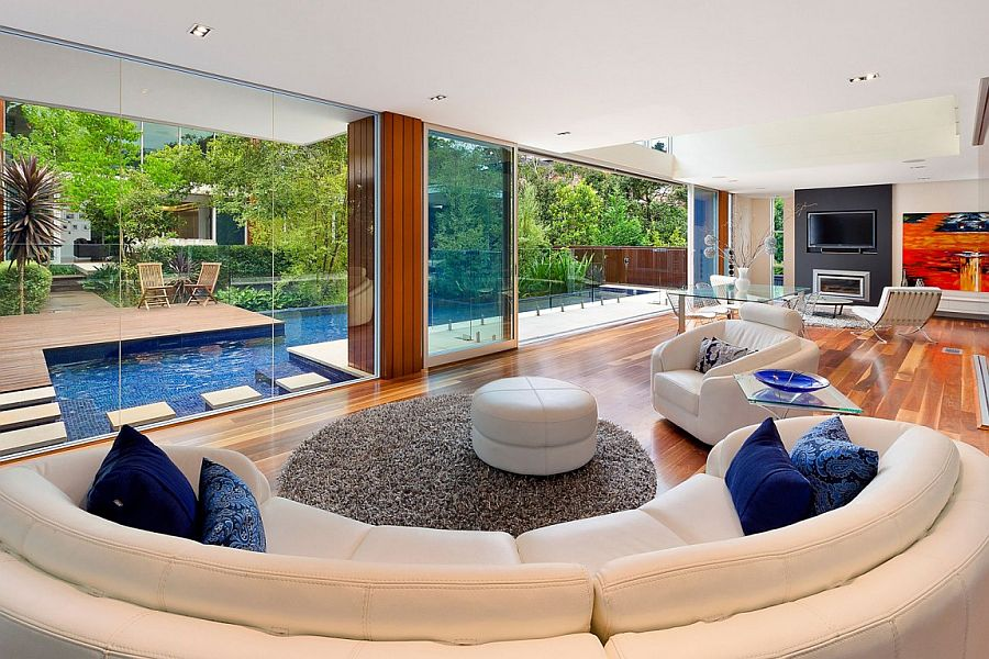 Open design of the living space connects it with the outdoors