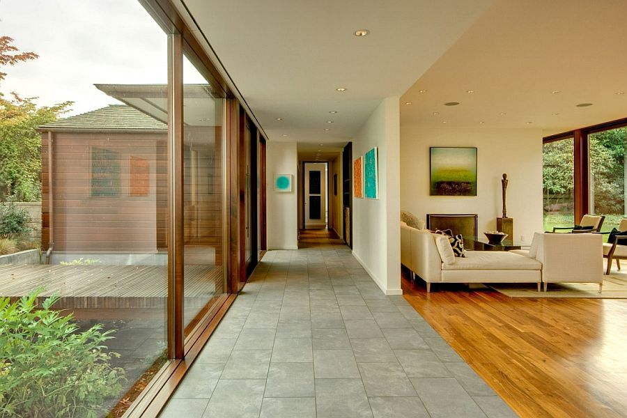 Open living area of the interior connected with the landscape outside