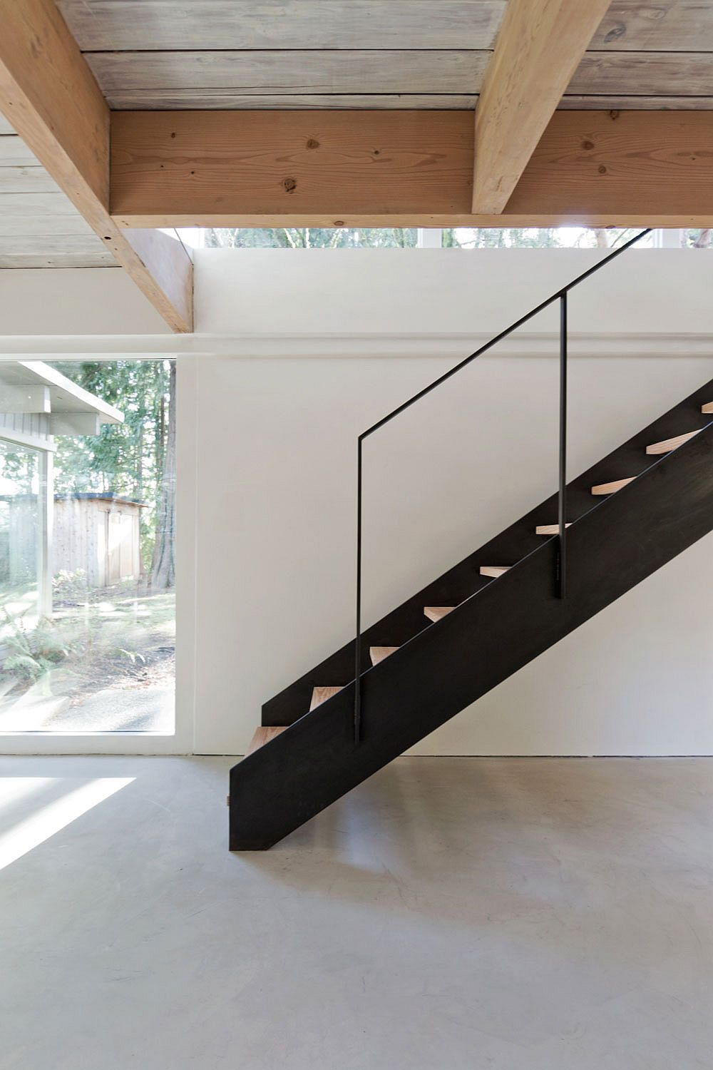 Open metal and wood staircase