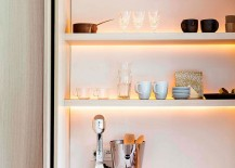Open shelves with gorgeous strip lighting for the minimal kitchen