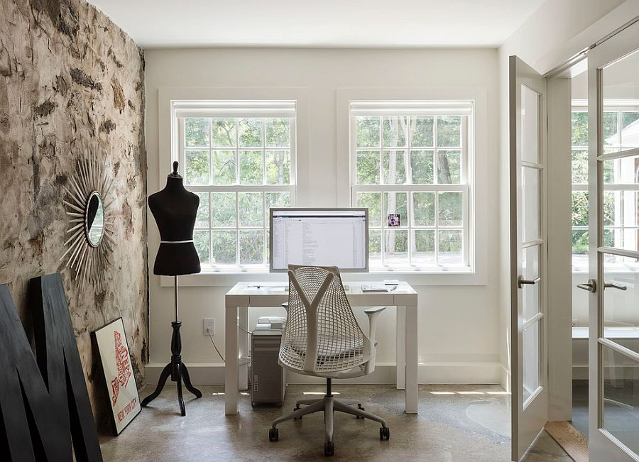 Original stone wall foundation becomes a smart accent feature in the revamped home office [Design: Sellars Lathrop Architects]