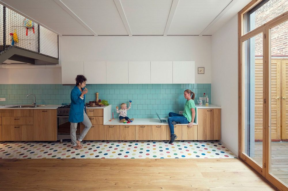 Painted floor and tiles give the interior a colorful look