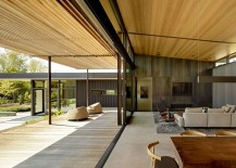 Pavilion styled living area completely opens up to the courtyard
