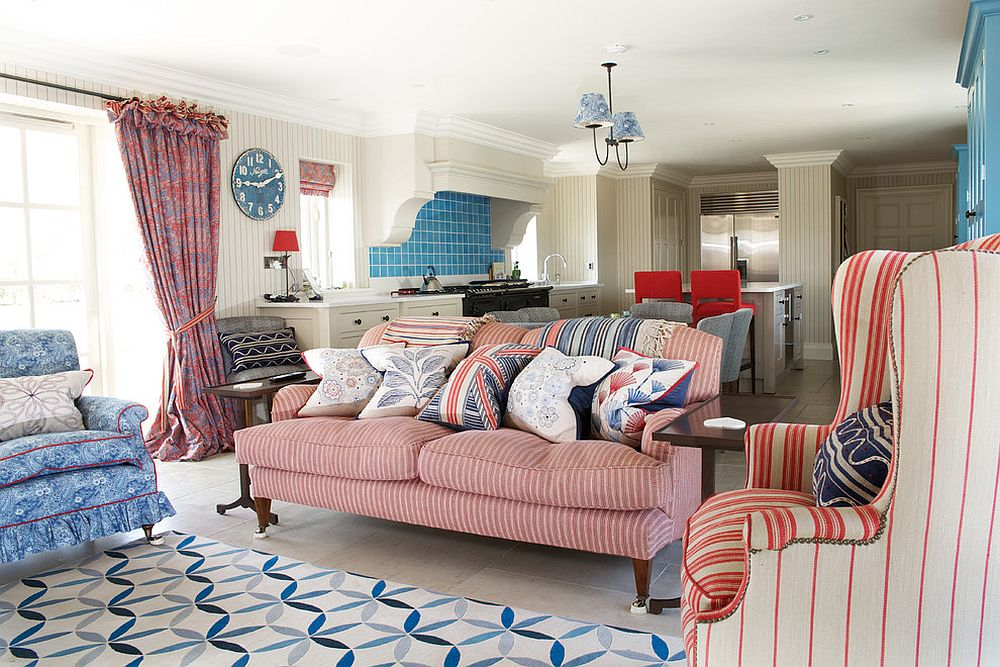 Pick analogous colors and triadic color schemes for the open floor plan [Design: Fiona Watkins Design Limited]
