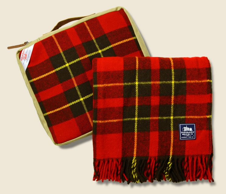 Plaid seat cushion and throw